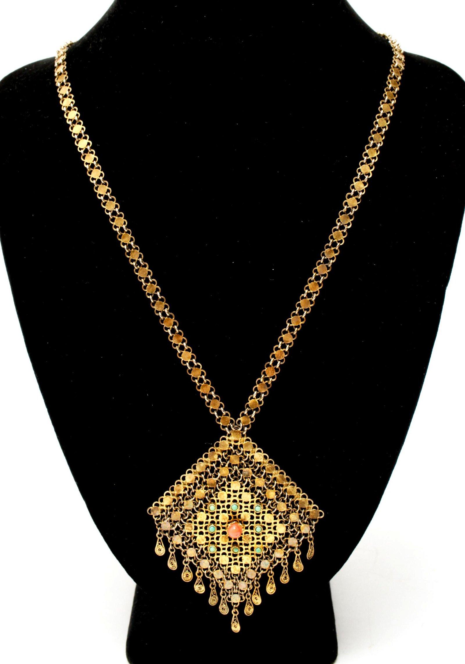 Silver-gilt Vermeil Coral & Turquoise Necklace
