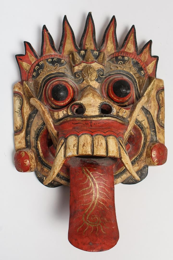 Indonesian Carved Dragon Mask