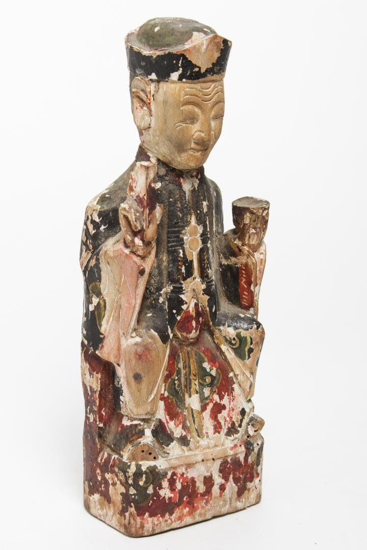 Chinese Carved & Polychrome Wood Seated Official