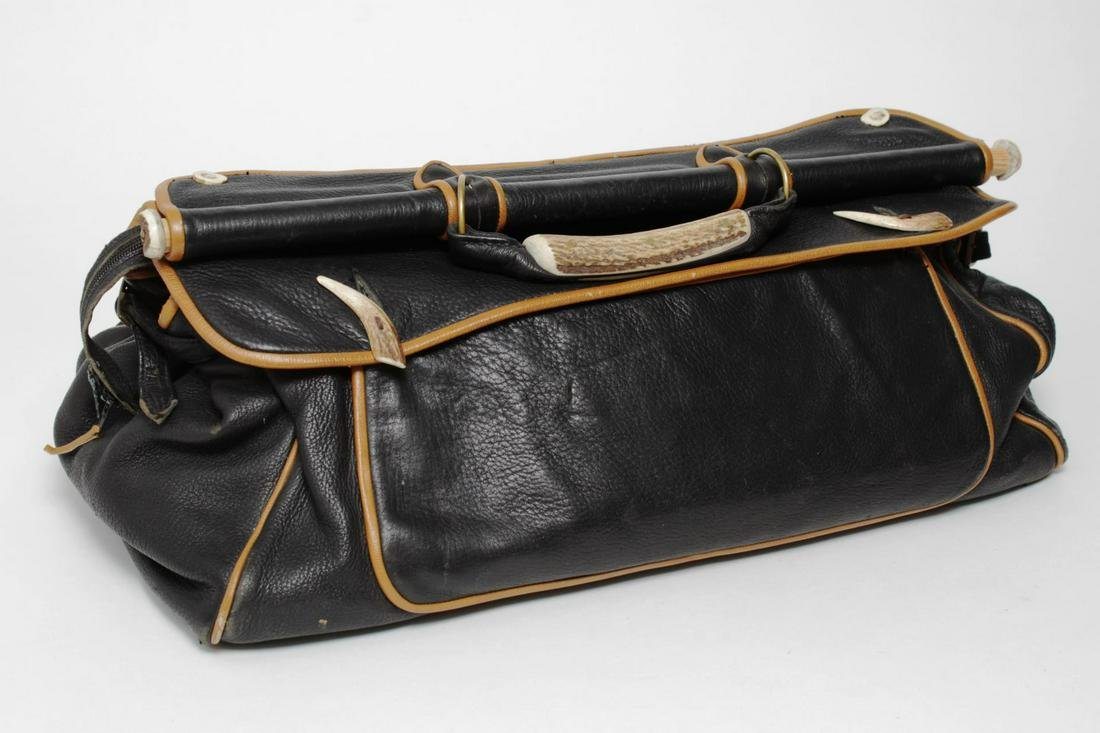 Man's Butter Leather & Stag Horn Duffel Bag