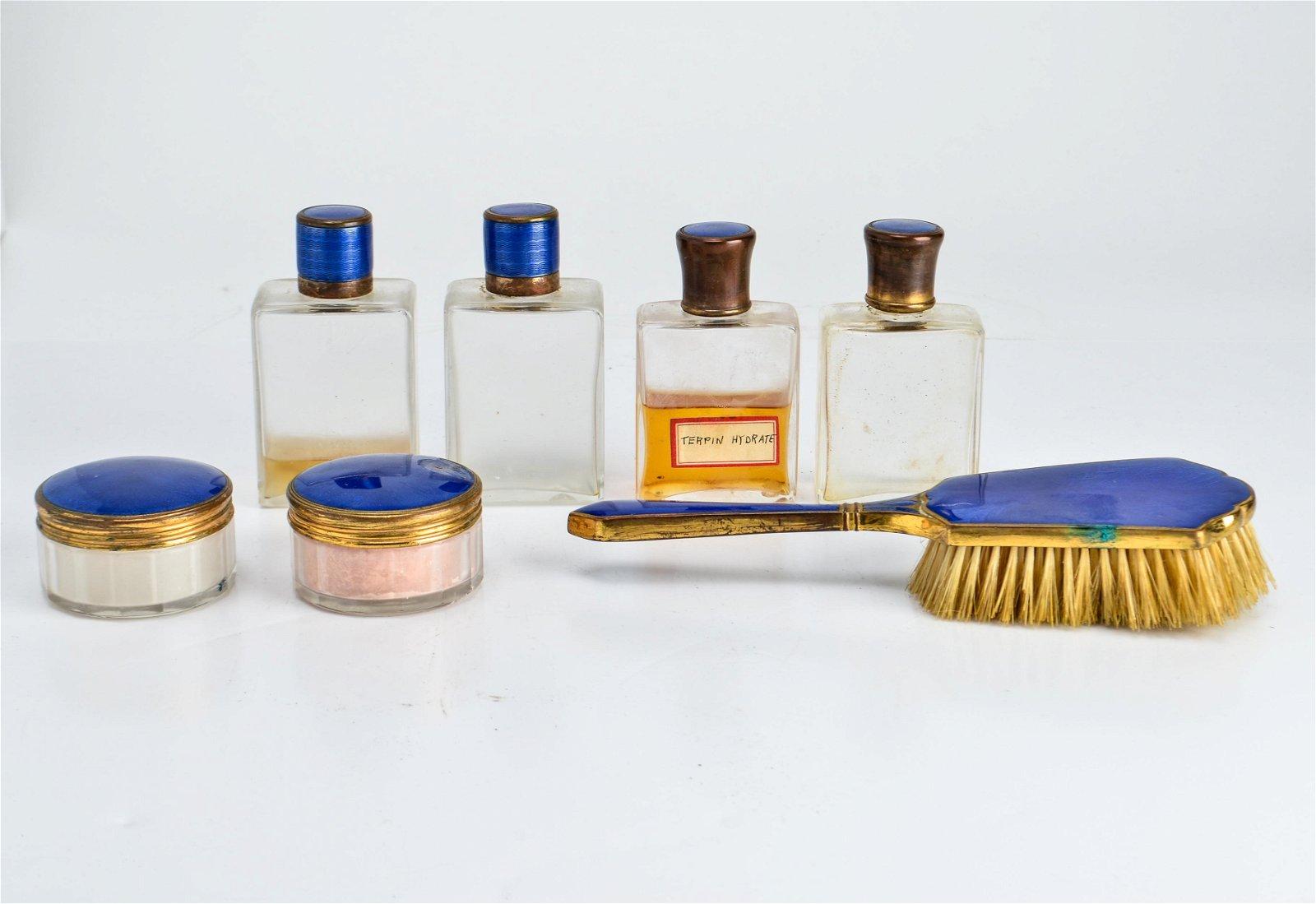 Antique Cobalt Blue Guilloche Enamel Vanity Set, 7