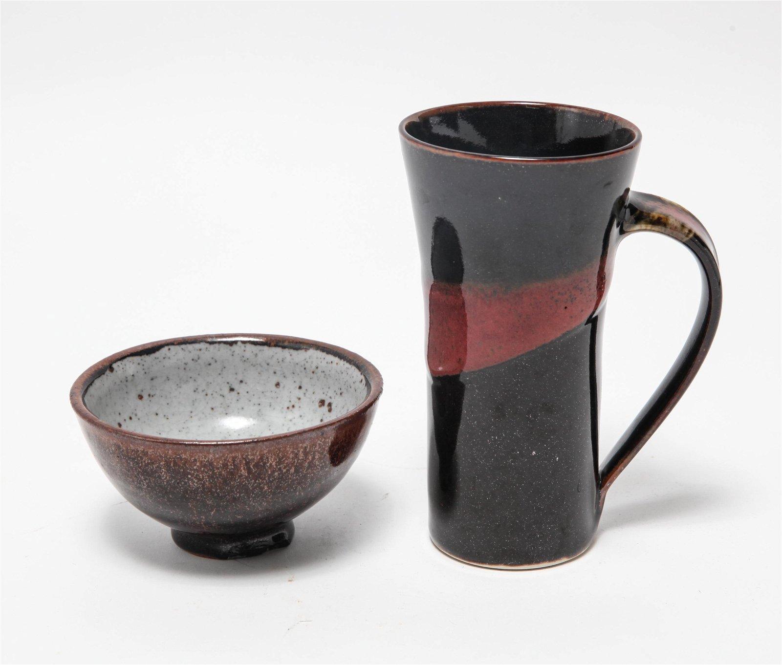 Illegibly Signed Art Studio Pottery Mug & Bowl, 2