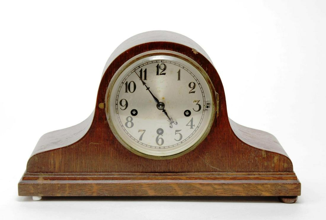 German Wooden Mantel Clock