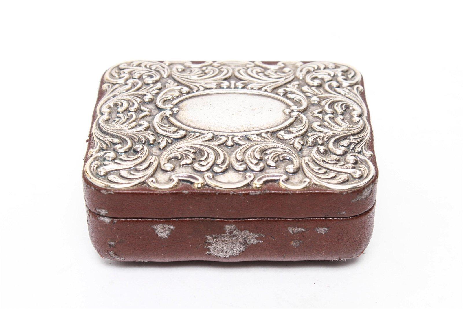Italian Silver & Leather Trinket Ring Pin Box