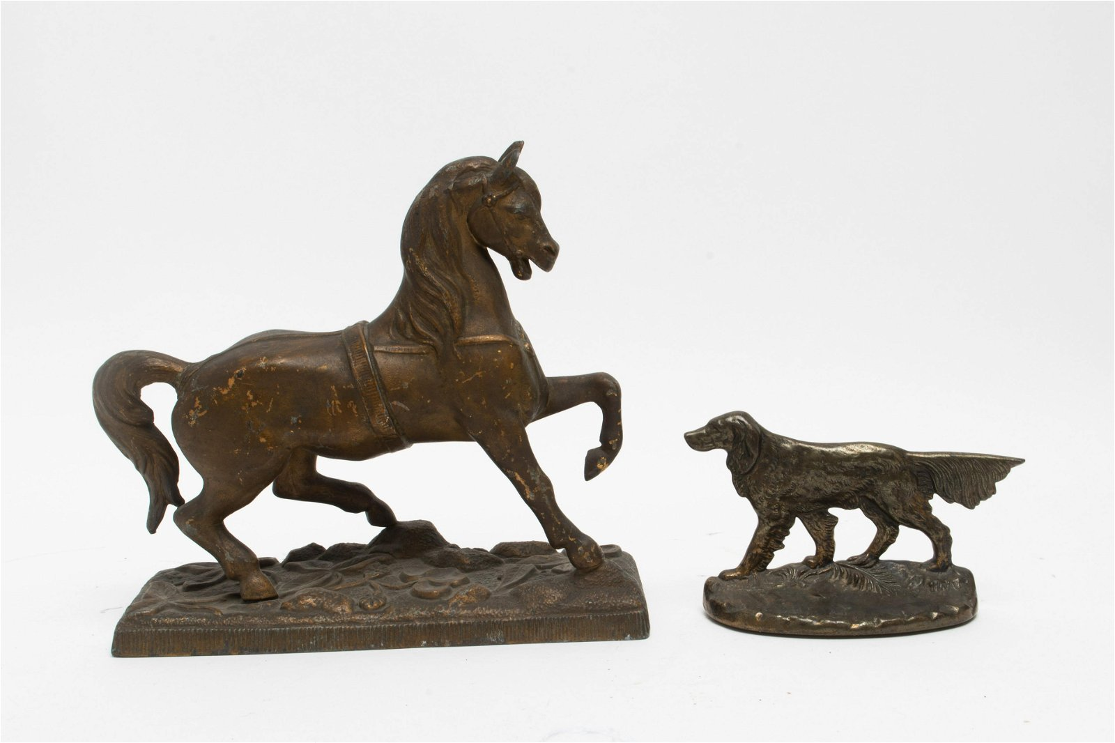Cast Metal Horse And Dog, 2