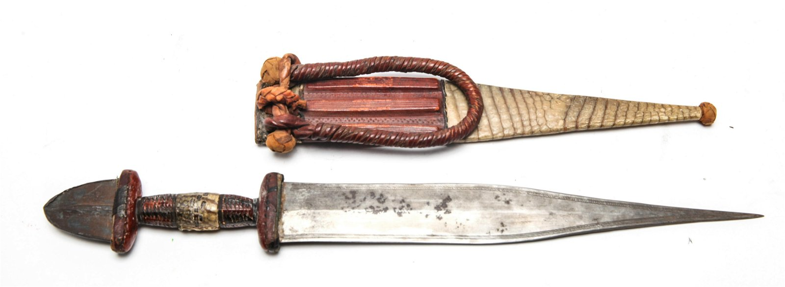 North African Knife w Snake And Leather Sheath