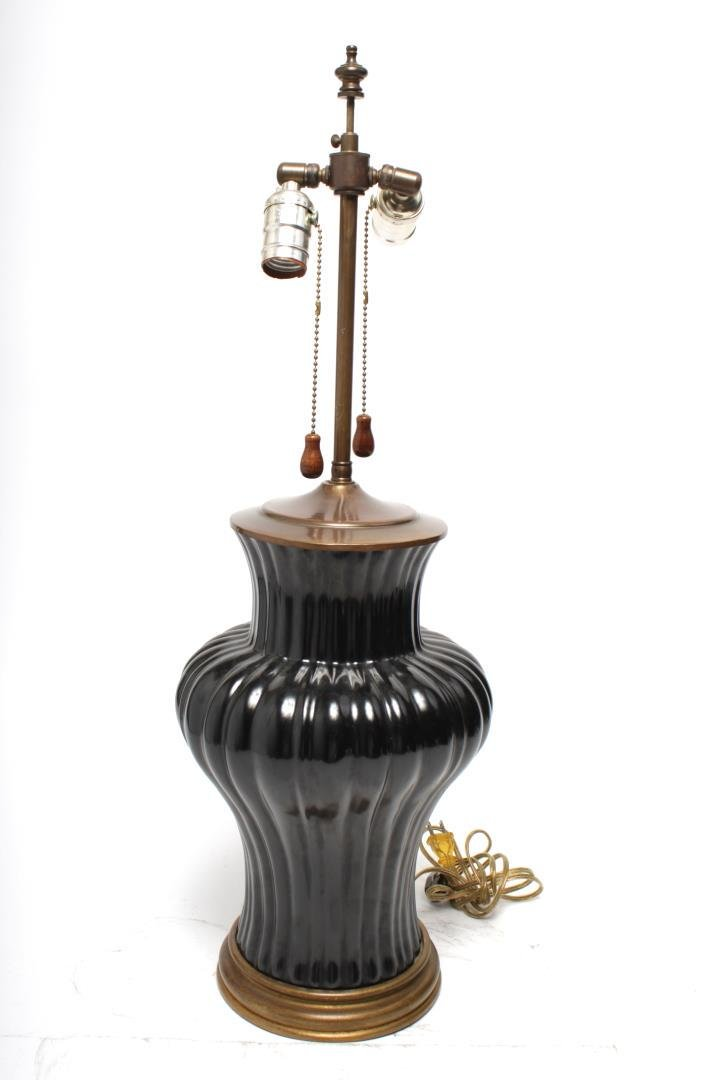 Chinese Black Glazed Porcelain Table Lamp