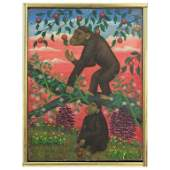 Lawrence Lebduska Folk Art Painting with Monkeys