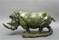 R. Kutinyu Green Stone Rhinoceros Sculpture
