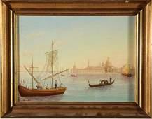 P.J. Grace Folk Art / Naive Venetian Gondola Oil