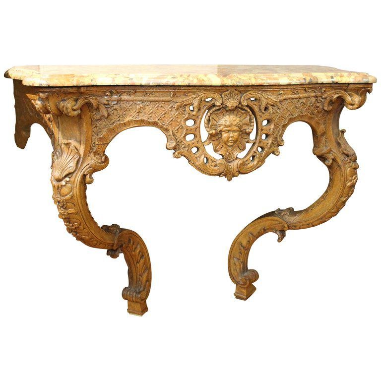 French Rococo Style Marble Top Console