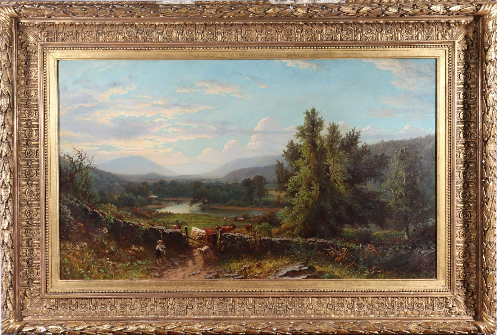 George W. Waters Landscape Oil on Canvas, 1876