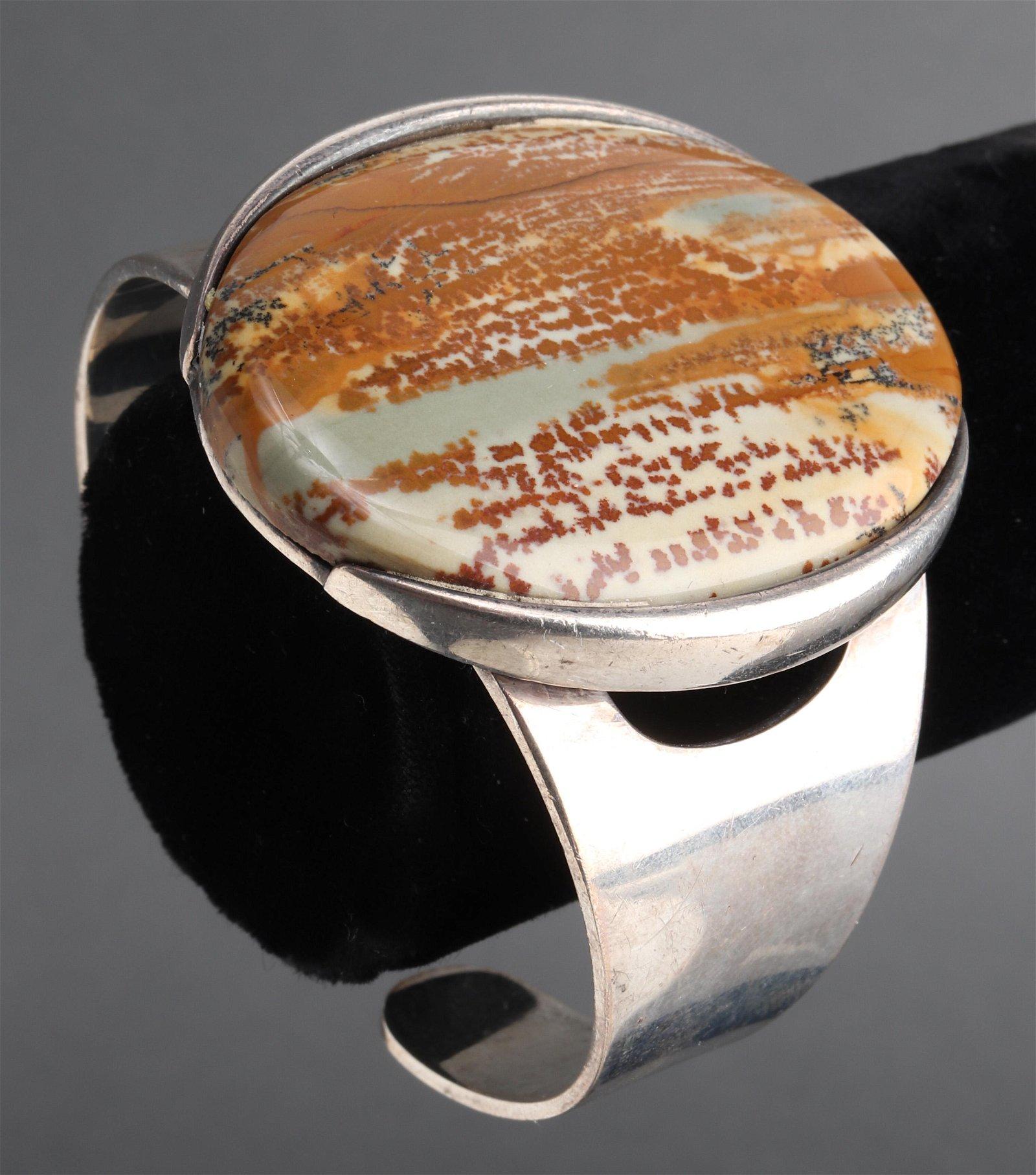 Mid-Century Modern German Silver & Agate Bracelet