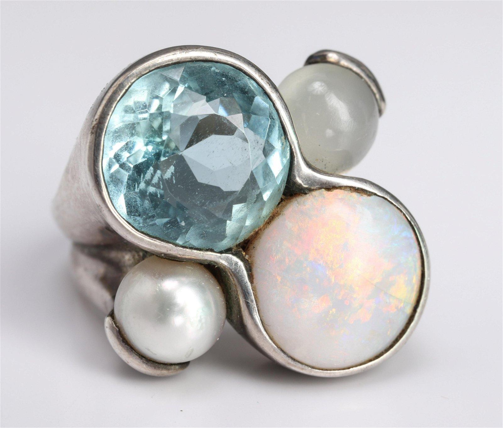 Silver, Opal, Aquamarine, Pearl & Moonstone Ring