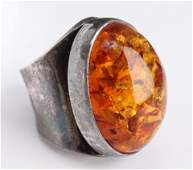 MidCentury Modern Silver  Baltic Amber Ring