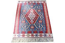 Turkish Kilim Blue Rug 3 4 x 4 4
