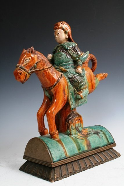 3011: Chinese 19th c Tang Warrior Figure Roof Tile
