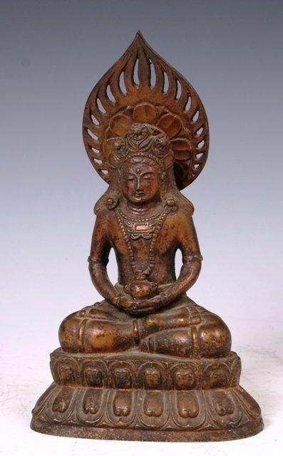 3013: Chinese Bronze 19th c Buddha