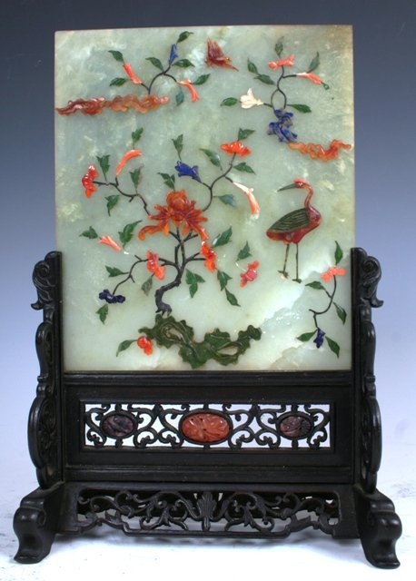 3015: Chinese Jade Plaque In Stand