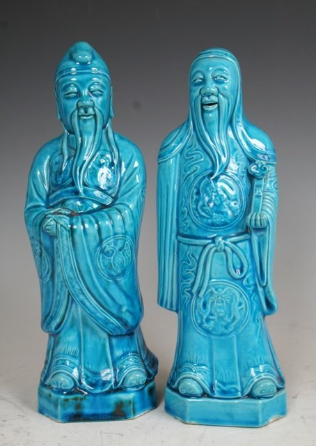 3019: Pair of Blue Porcelain Immortals Chinese 19c