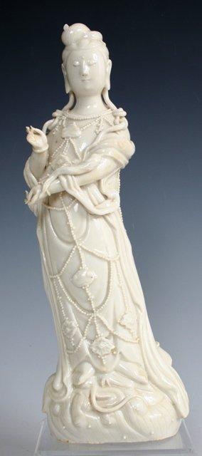 3022: Kwan Yin White Porcelain Statue 20th Chinese