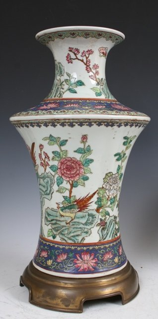 3024: Famille Rose Lamp Body Chinese 20th Century