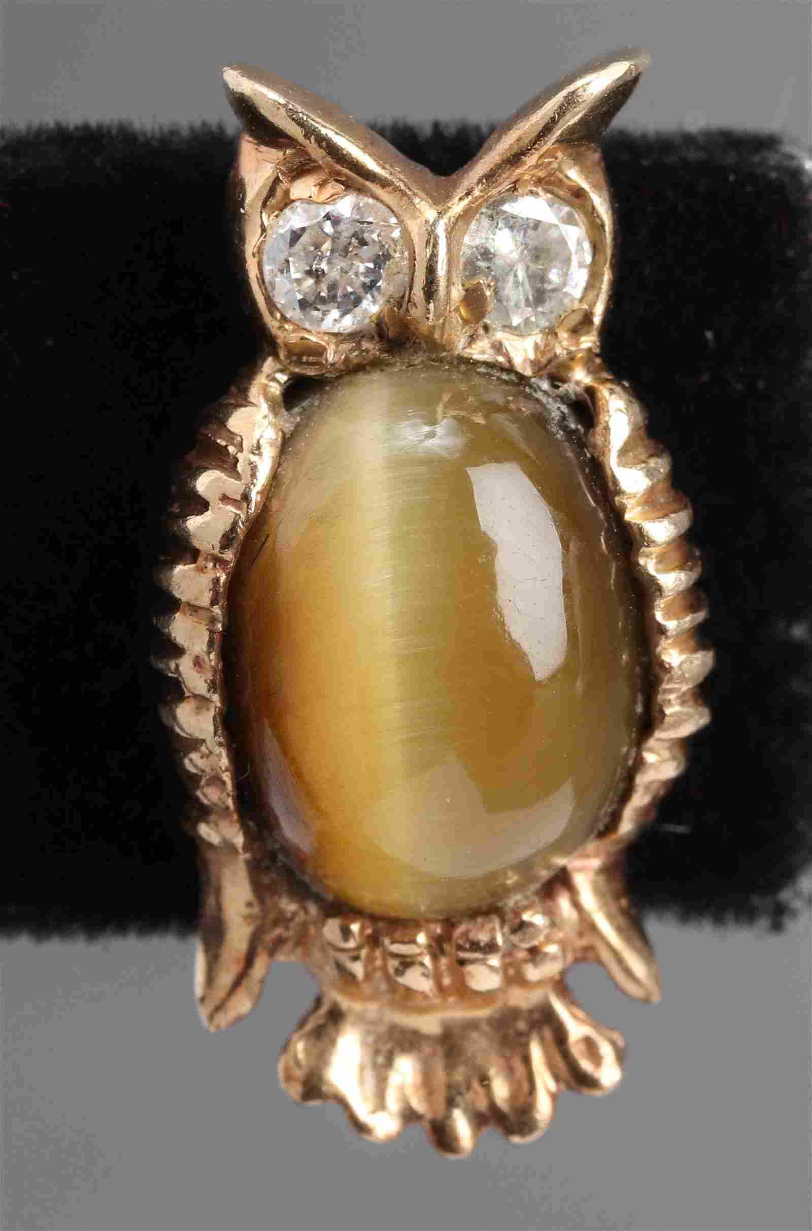 14K Yellow Gold Diamond & Cat's Eye Owl Tie Tack