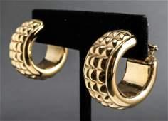 Italian 14K Yellow Gold Textured Hoop Earrings