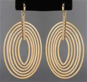 Milor Italian 14K Yellow Gold Oval Drop Earrings
