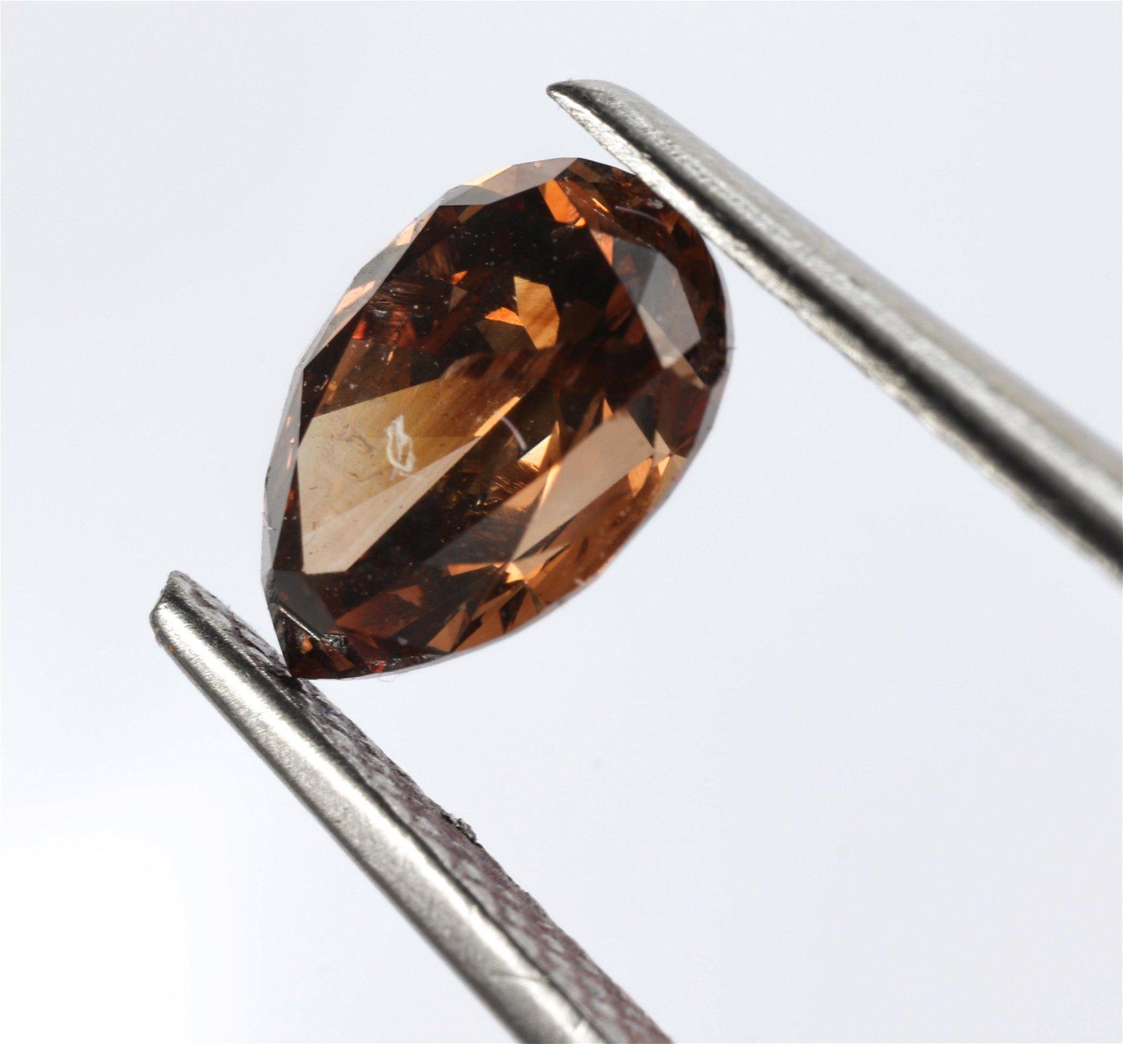 1.06 ct Cognac Champagne Pear Shaped Diamond