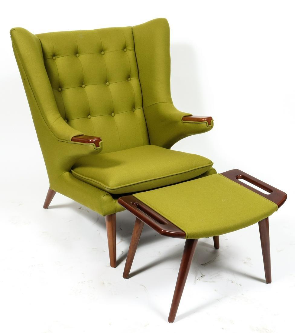 Hans Wegner Style Papa Bear Chair & Ottoman