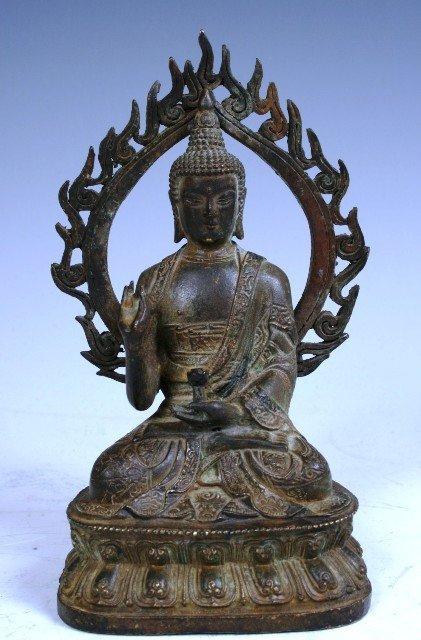 12: 19th c Chinese Bronze Buddha