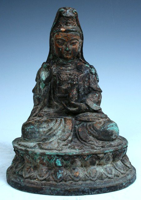18: Old Chinese Bronze Kwan Yin