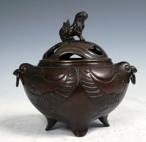 21: 19th c Chinese Bronze Censer