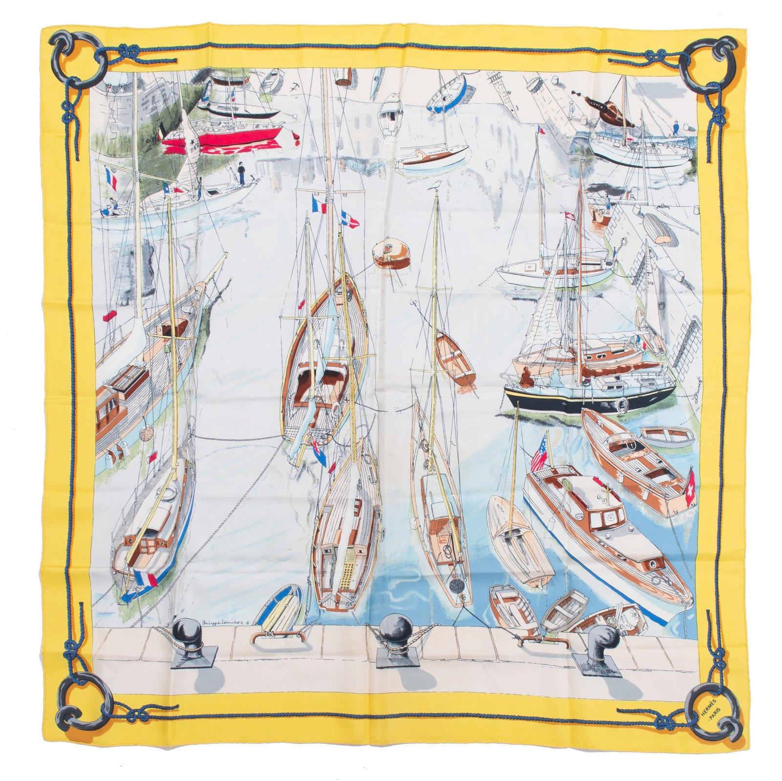 """Hermes """"Port de Saint Tropez"""" Silk Scarf"""