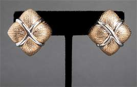 """14K Yellow & White Gold """"X"""" Square Earrings"""
