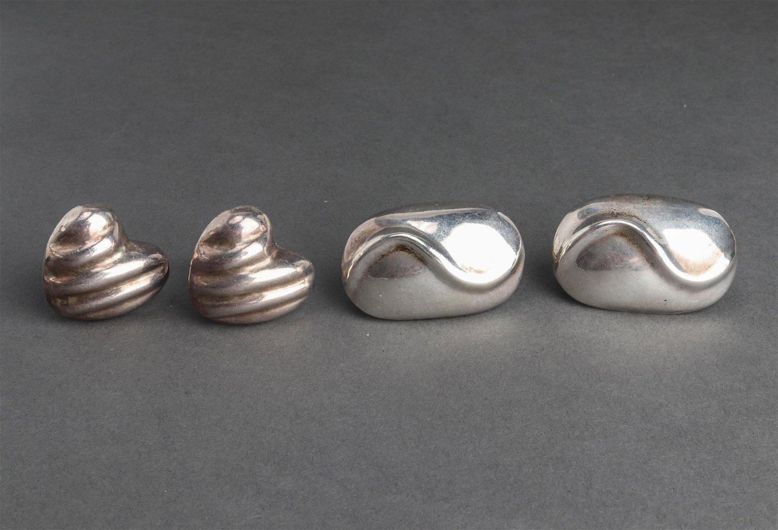 Vintage Taxco Silver & Heart Motif Earring Lot 2