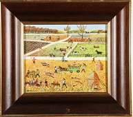 Signed Folk Art Farm Scene Oil on Canvas