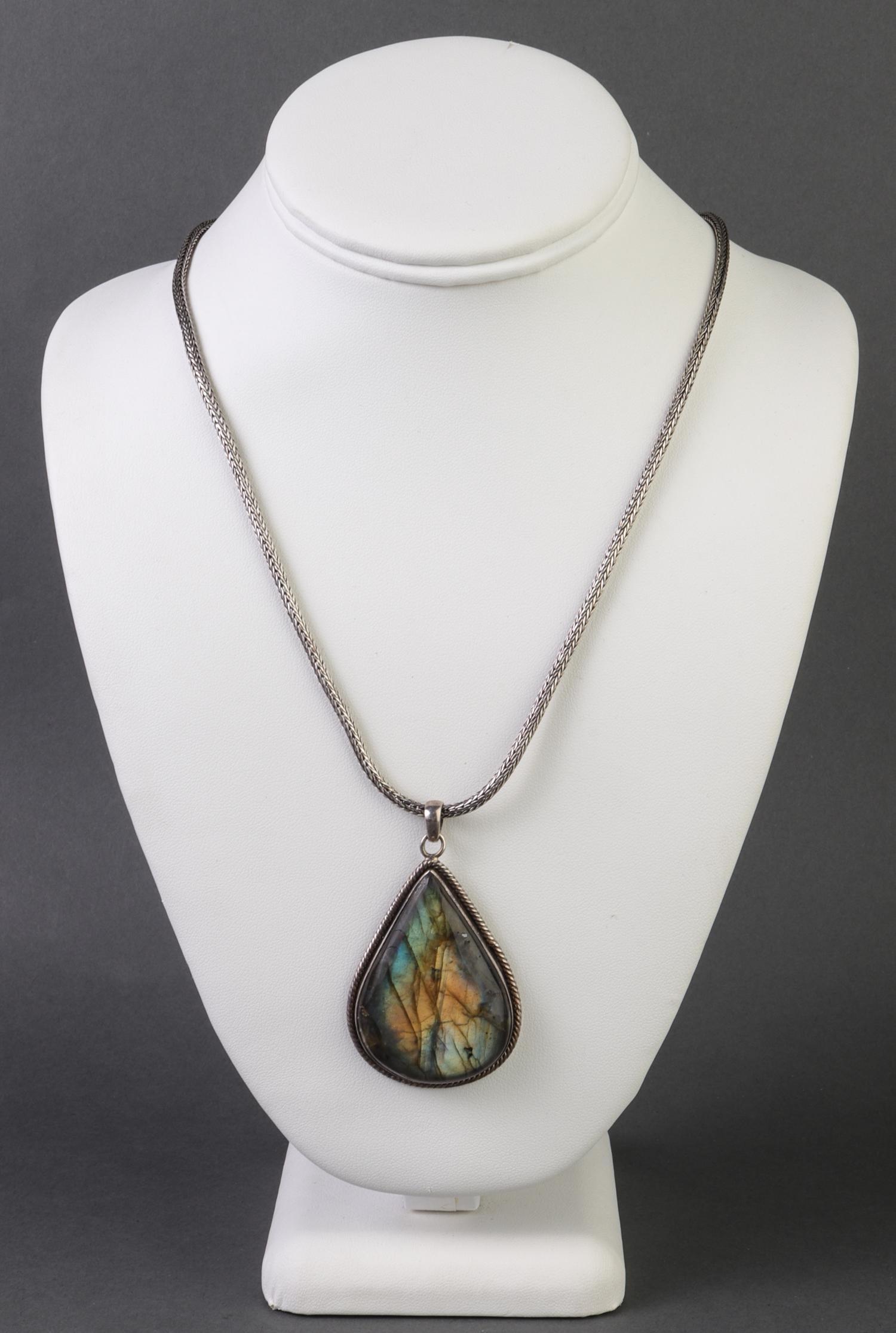 Sterling Silver & Labradorite Pendant Necklace