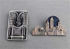 MidCentury Modern Silver Lapis  Pewter Brooch 2