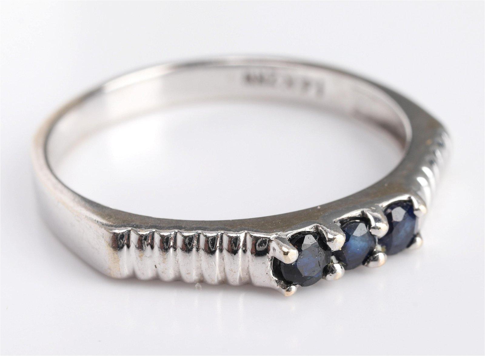 Mid-Century Modern 14K White Gold & Sapphire Ring