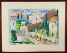 """Margaret Marks """"Abstracted Landscape"""" Oil on Paper"""