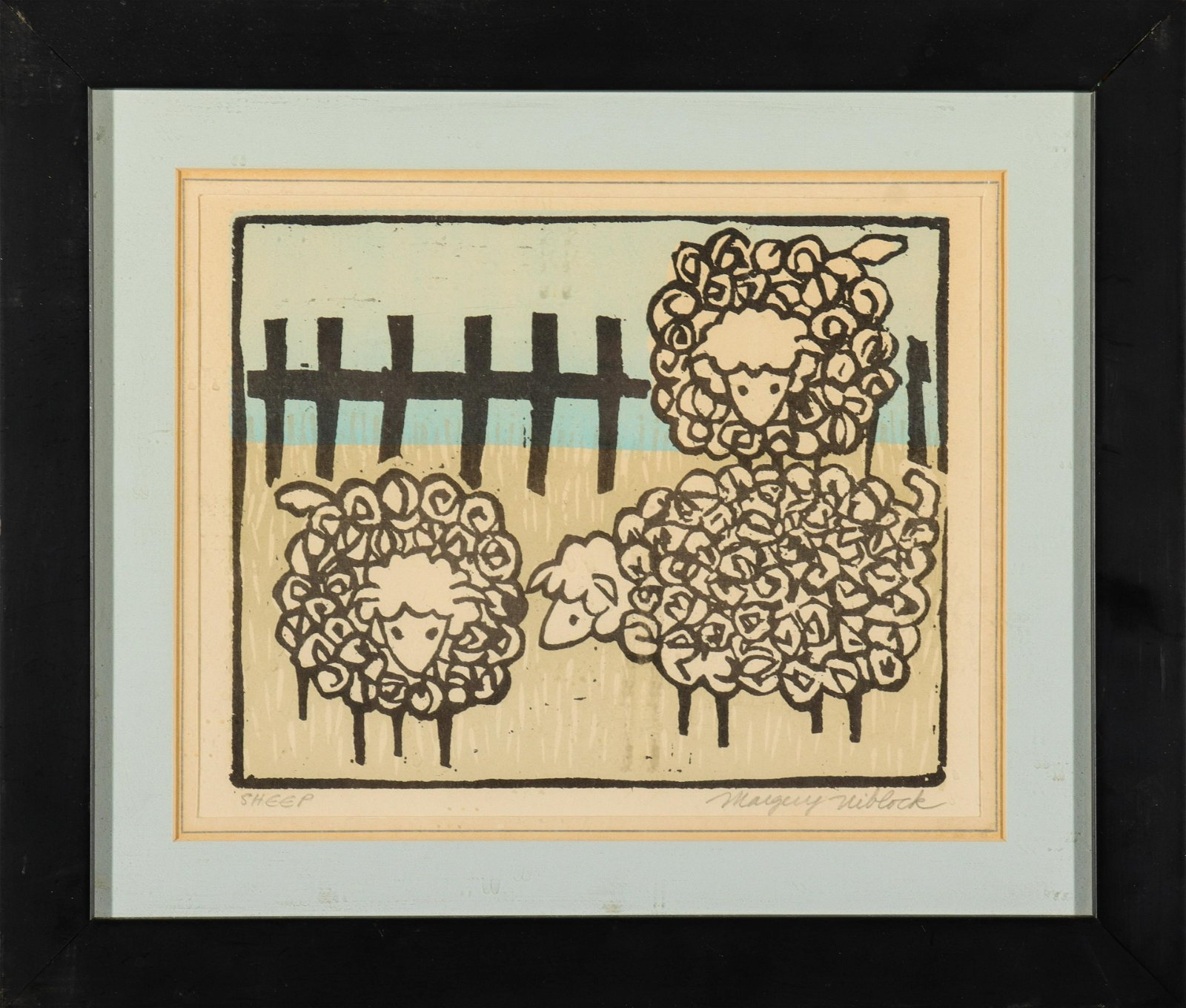 "Margery Niblock ""Sheep"" Woodblock Print"