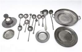Pewter Plates Utensils  Inkwell 20 Pieces