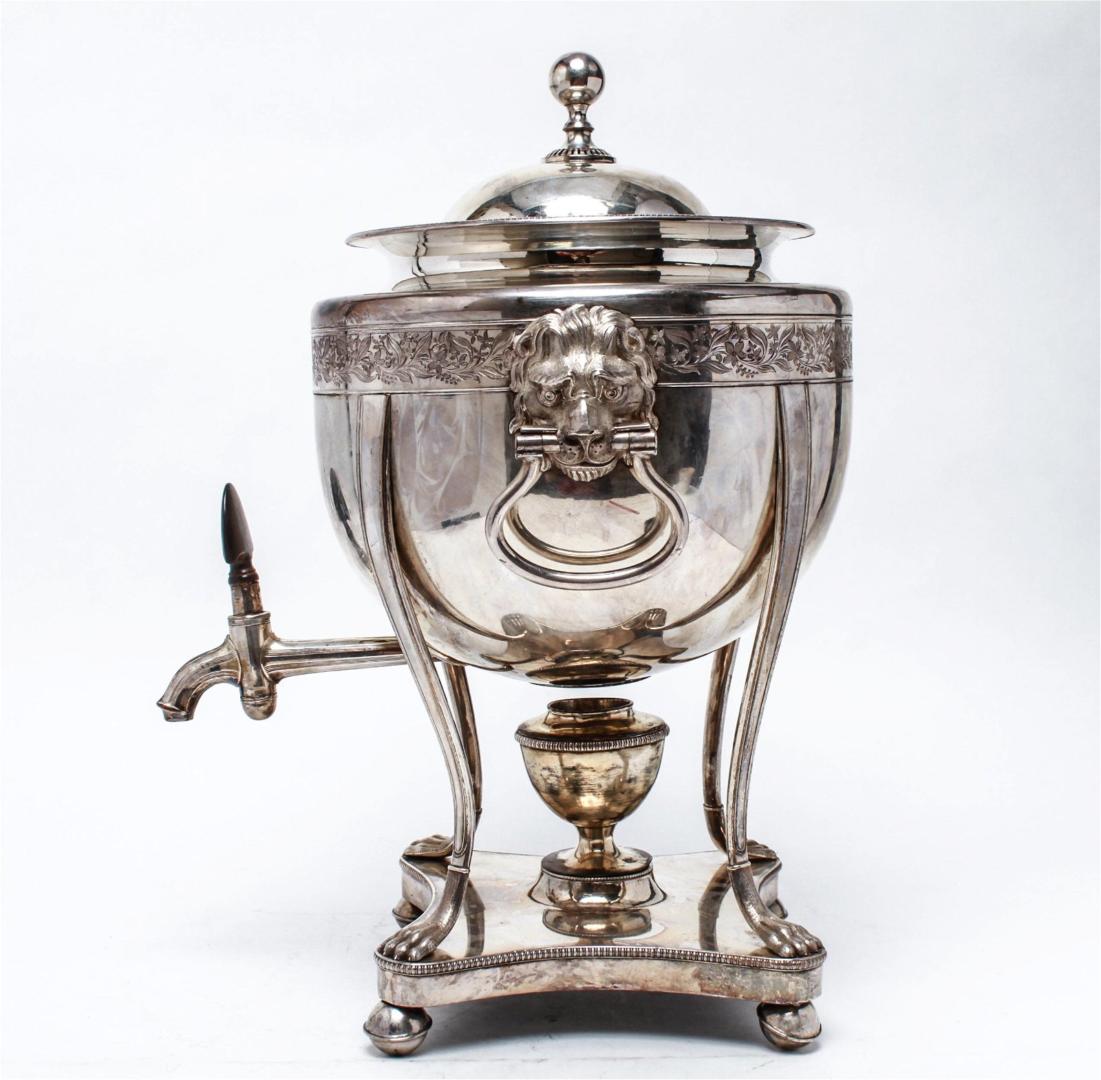 Silver Plate Samovar with Lion Heads