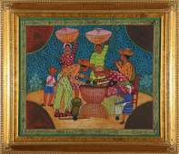 Herve Montreuil Haitian Family Oil on Canvas