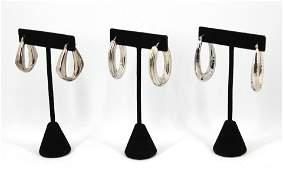 Italian & Other Modern Silver Hoop Earrings, 3 Prs