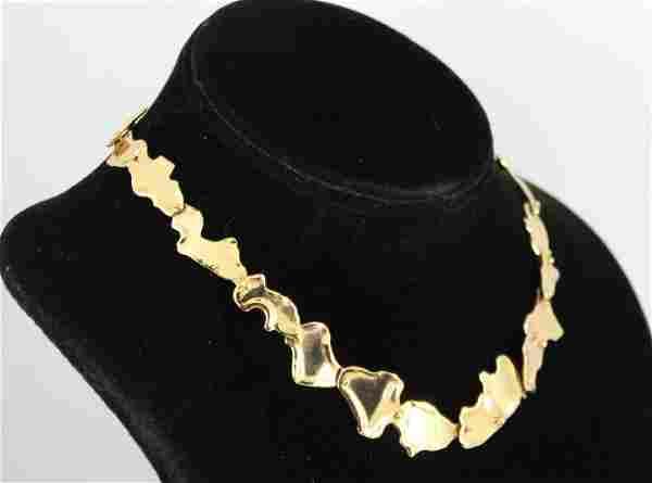 Modern 14K Yellow Gold Sculptural Link Choker