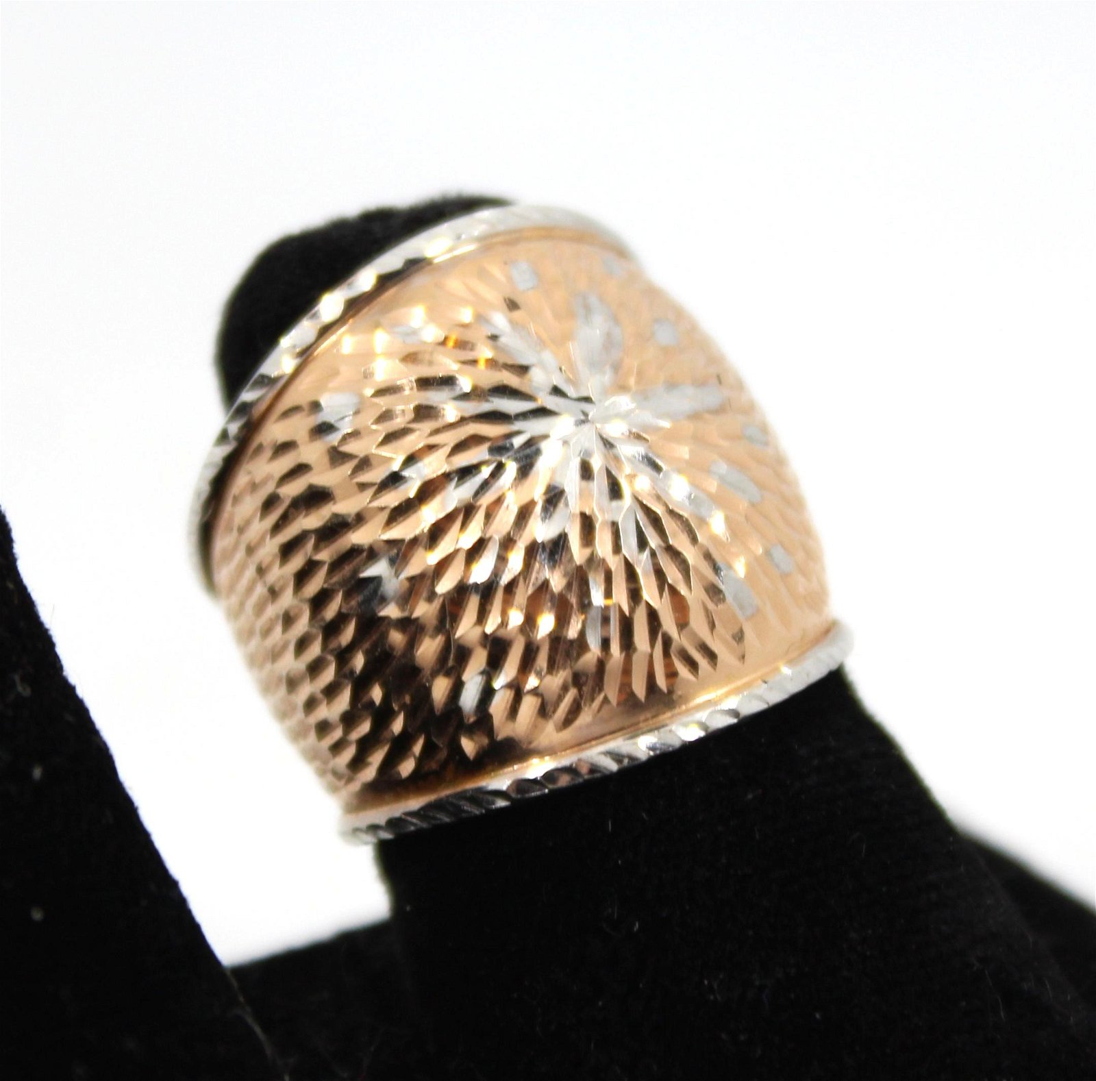 Italian 14K White Gold Ring With Rose Gold Wash
