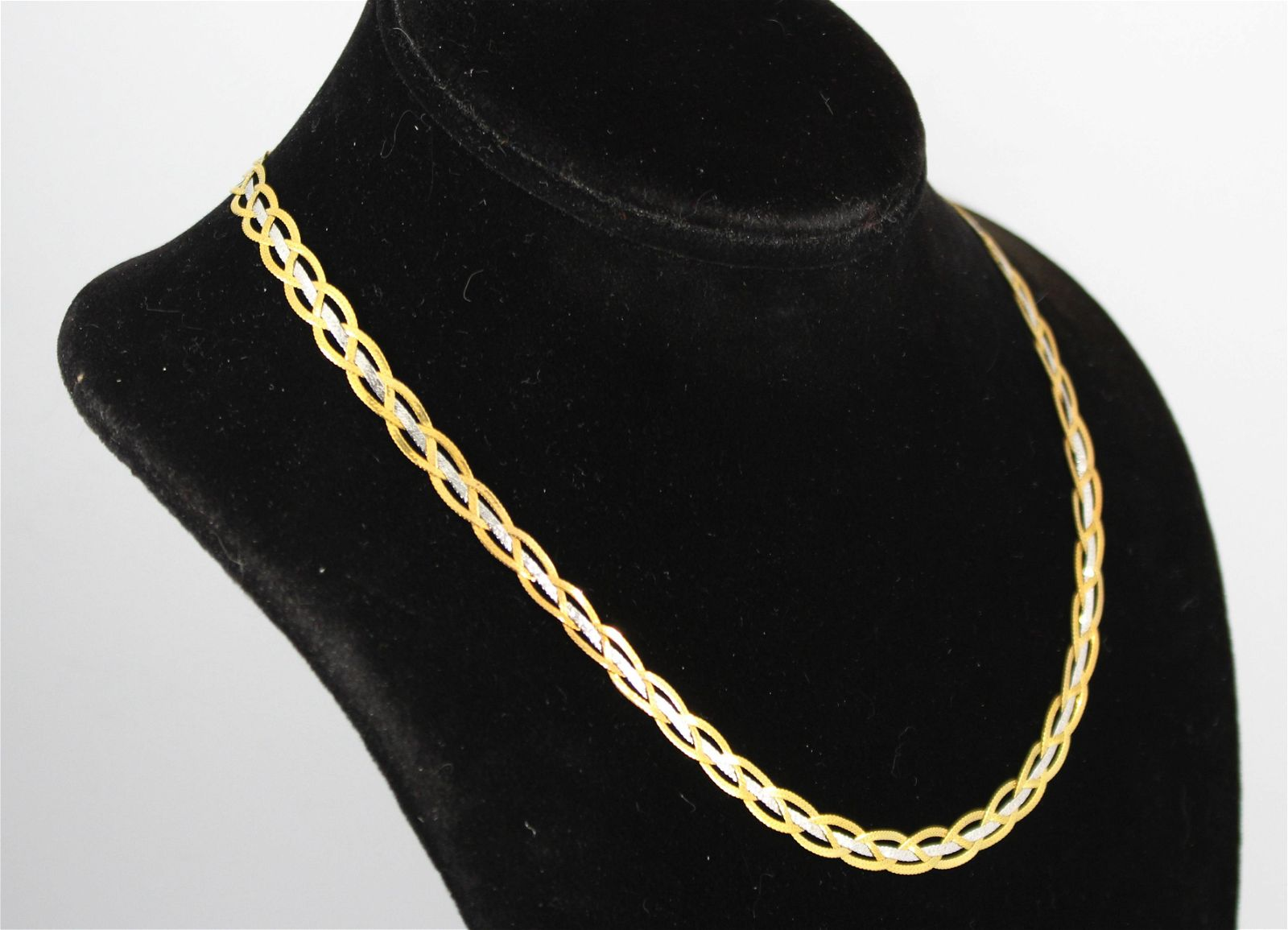 Italian 14K Yellow and White Gold Wove Necklace